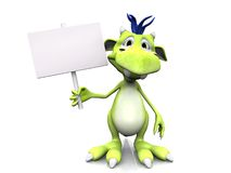 Cute cartoon monster holding blank sign. Stock Photography