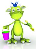Cute cartoon monster holding a bucket and a spade. Royalty Free Stock Image