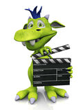 Cute cartoon monster holding a film clapboard. A cute smiling cartoon monster holding a film clapboard. The monster is green with blue hair. White background Stock Images