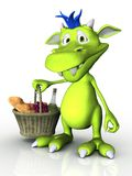 Cute cartoon monster holding a picnic basket. Royalty Free Stock Images