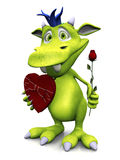 Cute cartoon monster holding rose and chocolate. Royalty Free Stock Images