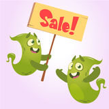 Cute cartoon monster holding sale sign.  Green monsters set for shopping discount. Stock Images