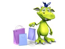 Cute cartoon monster holding shopping bag. Stock Images