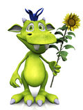Cute cartoon monster holding a sunflower. Stock Photography