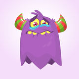 Cute cartoon monster with horns . Crying monster emotion. Halloween vector illustration Royalty Free Stock Photo