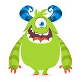 Cute cartoon monster with horns with one eye. Smiling monster emotion with big mouth. Halloween vector illustration. Cute cartoon monster with horns with one stock illustration