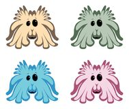 Cute cartoon monster icons on white Stock Photography
