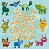 Cute cartoon Monster labyrinth game for Preschool Children. Vector. Illustration Stock Image