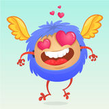 Cute cartoon monster in love with a pink heart shaped eyes. Romantic congratulation postcard Royalty Free Stock Image