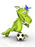 Cute cartoon monster playing soccer. Royalty Free Stock Photos