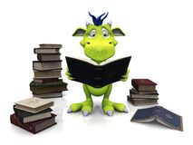 Cute cartoon monster reading a book. Stock Images