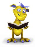 Cute cartoon monster reading a book. Stock Image