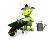 Cute cartoon monster ready for gardening. Stock Photos
