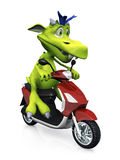 Cute cartoon monster on a scooter. Royalty Free Stock Photography