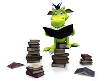 Cute cartoon monster sitting on a pile of books. Stock Photo