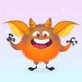 Cute cartoon monster smiling. Halloween vector fluffy orange monster. Royalty Free Stock Photo