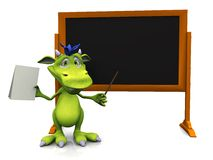 Cute cartoon monster standing in front of blank blackboard. Royalty Free Stock Images