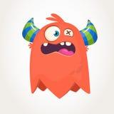 Cute cartoon monster. Surprised flying monster emotion. Halloween vector illustration. Stock Image