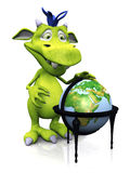 Cute cartoon monster with terrestrial globe. A cute friendly cartoon monster standing in front of a terrestrial globe. The monster is green with blue hair Royalty Free Stock Photo