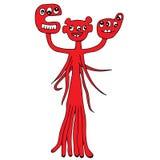 Cute cartoon monster with three head and many eyes Stock Photo
