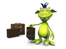 Cute cartoon monster with travel suitcase. Royalty Free Stock Photography