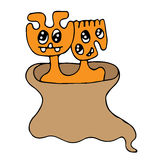 Cute cartoon monster with two head and many eyes Stock Photos