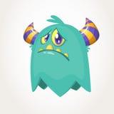 Cute cartoon monster. Upset flying monster emotion. Halloween vector illustration. Royalty Free Stock Photo