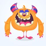 Cute cartoon monster. Vector  furry orange monster character with tiny legs and big horns. Halloween design. Royalty Free Stock Photos