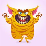 Cute cartoon monster. Vector  furry striped orange monster character with tiger look Royalty Free Stock Images