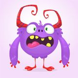 Cute cartoon monster. Vector  furry violet monster character with tiny legs and big horns. Halloween design. Cute cartoon monster. Vector  furry violet monster Stock Photo