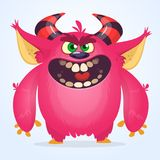 Cute cartoon monster. Vector troll or gremlin character. Halloween design. Stock Image