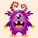 Cute cartoon monster with wings stock illustration