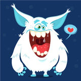 Cute cartoon monster yeti. Vector bigfoot character for Halloween Royalty Free Stock Photo