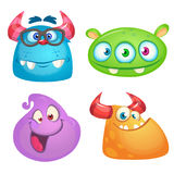 Cute cartoon monsters collection. Vector set of 4 Halloween monster icons. stock illustration