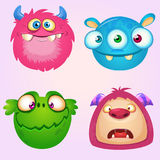 Cute cartoon monsters collection. Vector set of 4 Halloween monster icons. Royalty Free Stock Images