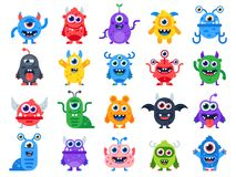 Cute cartoon monsters. Comic halloween joyful monster characters. Funny devil, ugly alien and smile creature flat vector. Cute cartoon monsters. Comic halloween vector illustration
