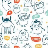 Cute monsters doodles seamless pattern. Cute cartoon monsters doodles vector seamless pattern vector illustration