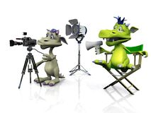 Cute cartoon monsters filming. A cartoon monster sitting in a directors chair and another mouse filming. White background Royalty Free Stock Image