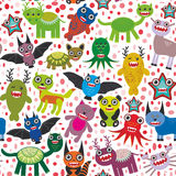 Cute cartoon Monsters seamless pattern  white background. Vector Stock Image