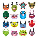 Cute cartoon Monsters Set. Big collection on white Stock Photo