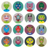 Cute cartoon Monsters Set. Big collection on white Stock Photography