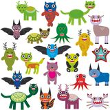 Cute cartoon Monsters Set. Big collection on white background. Vector Stock Photo