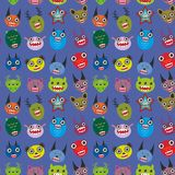 Cute cartoon Monsters Set on blue background Royalty Free Stock Photo