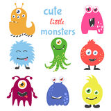 Cute cartoon monsters set. Collection for any design, card, poster, invitation. Vector illustration. Stock Photos