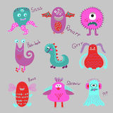 Cute cartoon monsters set. Royalty Free Stock Images