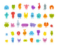 Cute cartoon monsters. Set of cute little cartoon monsters with different shapes, colors and facial expressions Stock Image