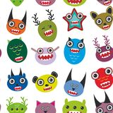 Cute cartoon Monsters Set.  seamless pattern on Royalty Free Stock Photos