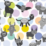 Cute cartoon Monsters Set.  seamless pattern on white background. Vector Stock Images