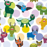 Cute cartoon Monsters Set.  seamless pattern on white background. Vector Royalty Free Stock Photo