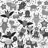 Cute cartoon Monsters Set. seamless pattern on white background. Vector Stock Image